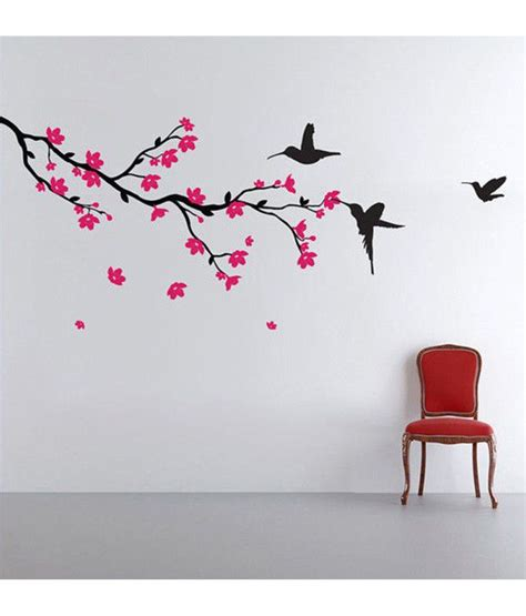 wall and stickers stickerskart hummingbirds and blossoms print pvc wall stickers buy stickerskart hummingbirds