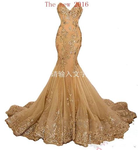 2016 new style mermaid gold prom dresses sequins lace up back evening gown real sle