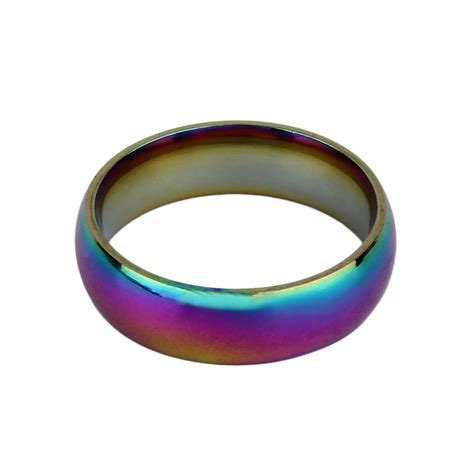 Colourful I Ring unisex rainbow colorful ring titanium stainless steel ring mr