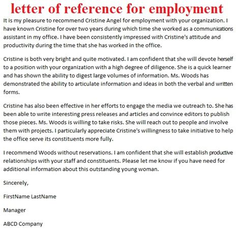 Immigration Reference Letter For Employee letters of reference october 2012