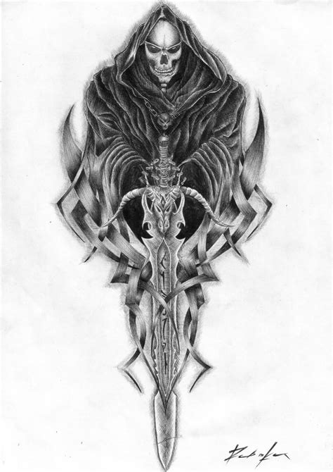 tribal grim reaper tattoos tribal sword and grim reaper design