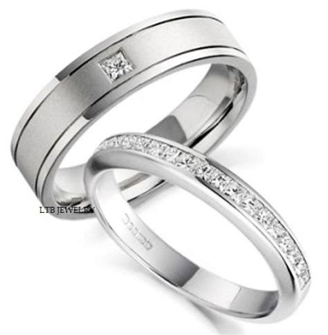 18k white gold his hers mens womens wedding bands rings