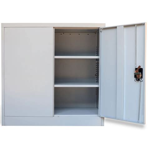 metal cabinet with doors metal office cabinet 2 doors 90 cm grey vidaxl co uk