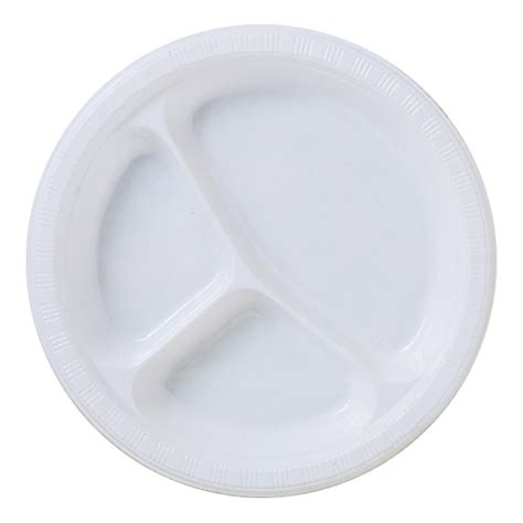 Disposable White Divided Plastic Dinner Plate Posh Party