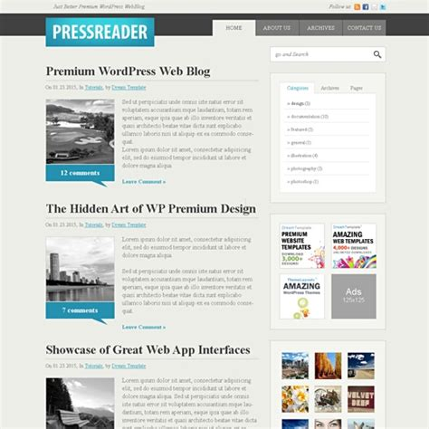 css templates for blogger pressreader css template blog style website