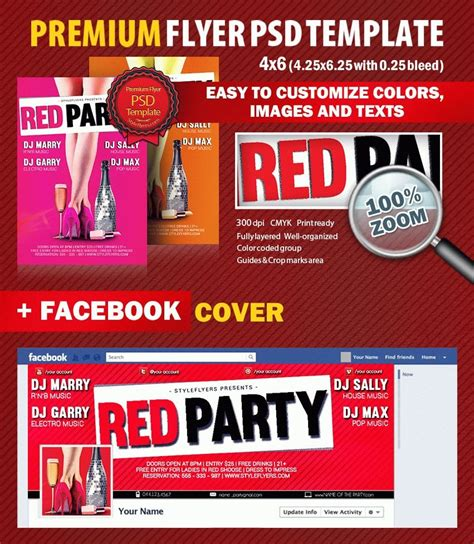 flyer template red red party psd flyer template 5530 styleflyers