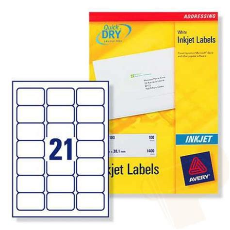 template for avery labels j8160 j8160 avery inkjet labels 21 per sheet 100 sheets