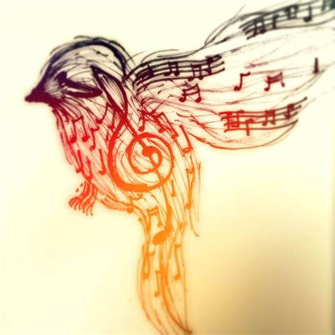 music note bird tattoo note finch