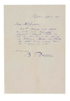 Gift Letter Signed Autograph Letter Signed Pasternak Boris 1959 Thanks For Gift