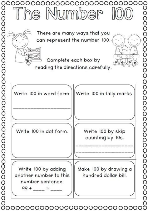 100 day math worksheets 100th day of school printables schools college and 100th day of school