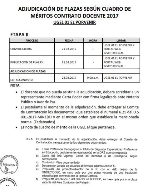 contrato docente 2017 plazas ugel 01 el porvenir adjudicaci 211 n de plazas seg 218 n cuadro