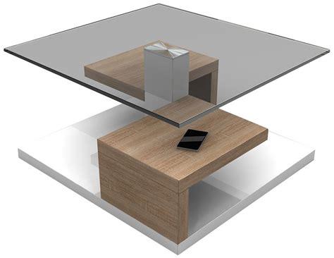 table bois et verre design table basse blanche et bois clair table basse table