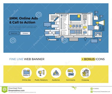 design online advertising social media marketing flat line banner stock vector