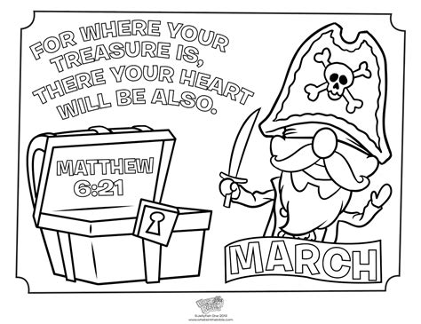 love chapter coloring page march treasure coloring page matthew 6 21 whats in the