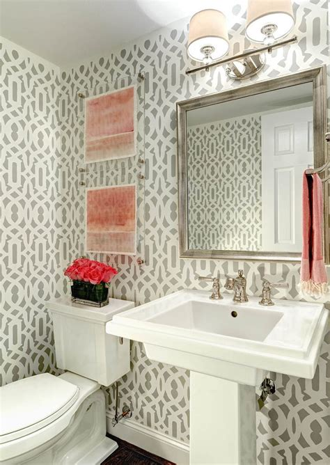 powder room wall decor ideas powder bath ideas powder room transitional with wallpaper