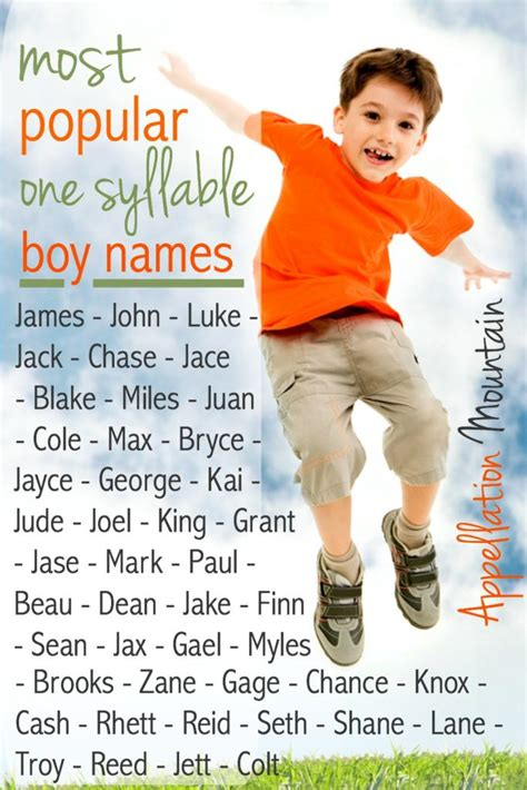 one syllable names most popular one syllable boy names part one appellation mountain