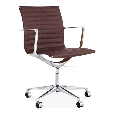 cult living brown ribbed office chair with back