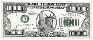 One Million Dollar Note $1,000,000 1996 - Obverse Serial Number ... $1000000 Bill