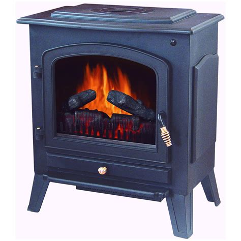 Heating Fireplace by Stonegate 174 Electric Fireplace Heater With Remote Black