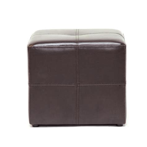 Brown Leather Cube Stool by Leather Cube Ottoman Studio Nox Foot Stool Rest Pouf