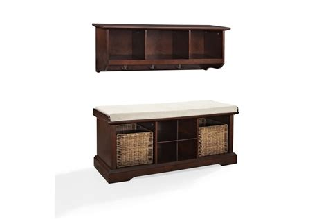 Entryway Shelf And Bench Set brennan 2 entryway bench and shelf set in mahogany by crosley