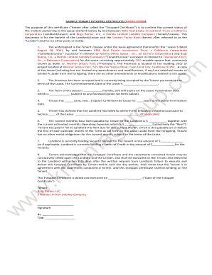 estoppel certificate template estoppel certificate template fill printable