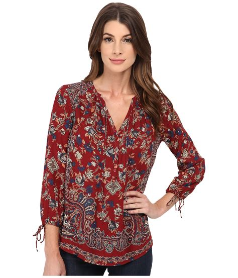 Lucky Brand Orange Paisley lucky brand floral paisley top lyst