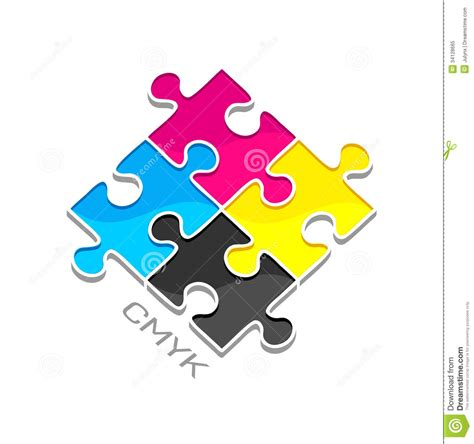 cmyk puzzle cmyk puzzles royalty free stock photo image 34128665