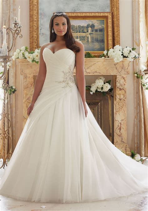 Beaded Wedding Gown by Plus Size Wedding Gown With Organza And Tulle Style 3203