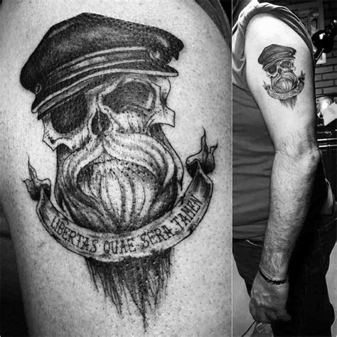 bearded skull tattoo bearded skull on shoulder best ideas gallery