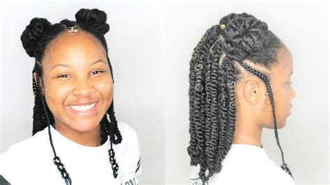 back to school hairstyles for kinky hair afro puffs rope twists back to school natural hairstyle