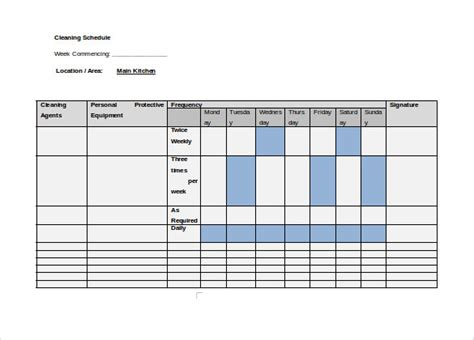 cleaning template sle cleaning schedule 8 documents in pdf word