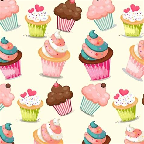 cupcake cute vector seamless pattern free vector in adobe