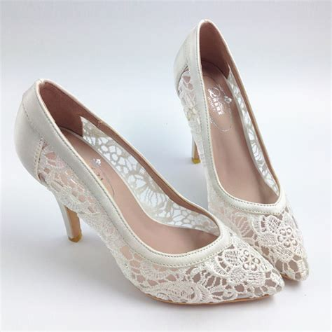 lace wedding shoes 2015 cutout satin fabric high heels lace