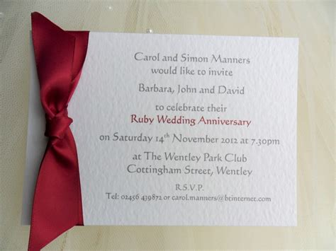 40th wedding anniversary invitations 60p each 40th ruby wedding anniversary invitations