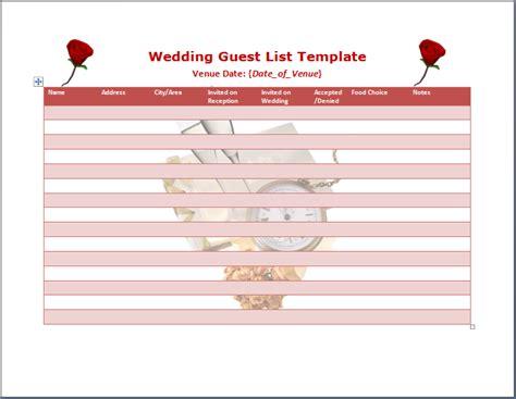wedding guestlist new calendar template site