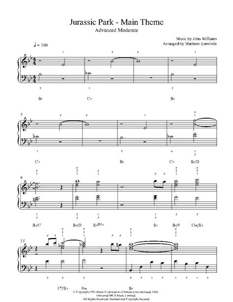 theme music piano jurassic park theme by john williams piano sheet music