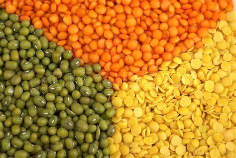 Organik Lentil Orange 2 yellow split quot football quot lentils and green mung beans stock photo colourbox