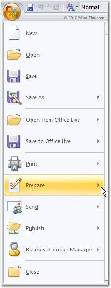 the office button the microsoft word 2007 file menu