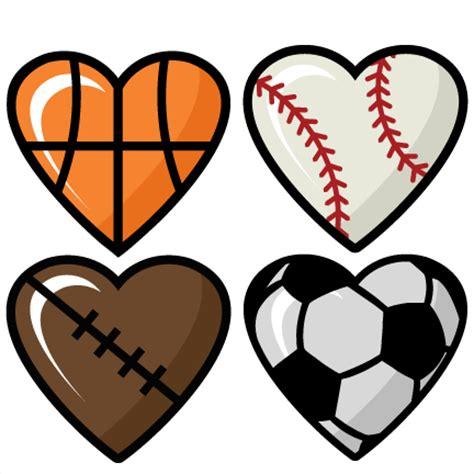 sports clipart sports hearts set scrapbook cut file clipart files