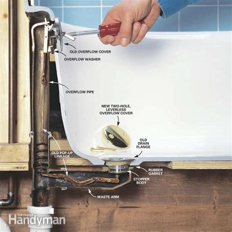 removing a bathtub drain how to convert bathtub drain lever to a lift and turn drain the family handyman