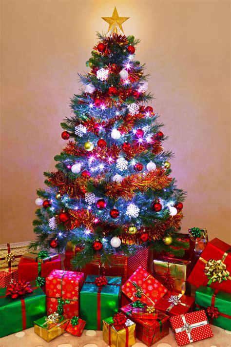 christmas tree  presents  home stock photo image