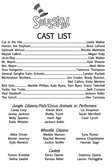 Or Cast List Cast For Seussical Announced Bearing News