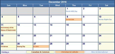 Calendar Printable 2016 Canada December Calendar 2016 With Holidays Canada
