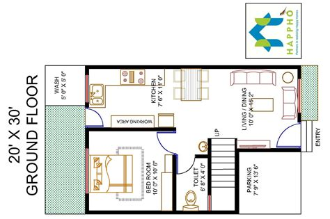 plot plans floor plan for 20 x 30 plot 1 bhk 600 square 67