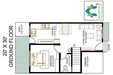 1 BHK Floor Plan for 20 X 30 Plot (600 Square Feet/67