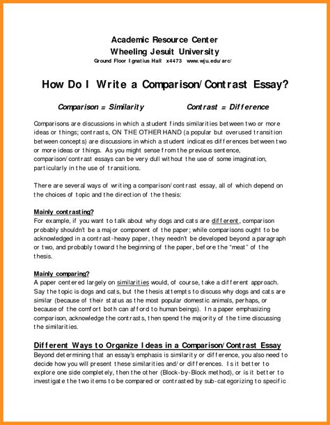 Exle Essay Compare And Contrast by 6 Writing A Comparison Contrast Essay Agenda Exle