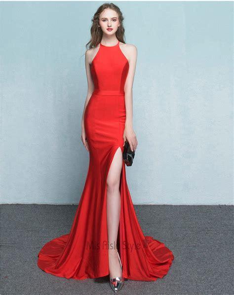 Dress Model Style Pink Blue Brown Impor mermaid halter neckline slit prom dress 2017