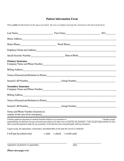 Free Patient Information Form Template best photos of information form template student