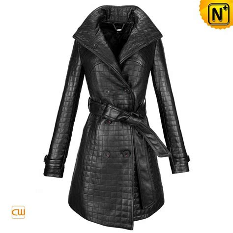 s checkered belt waist black leather coats cwmalls